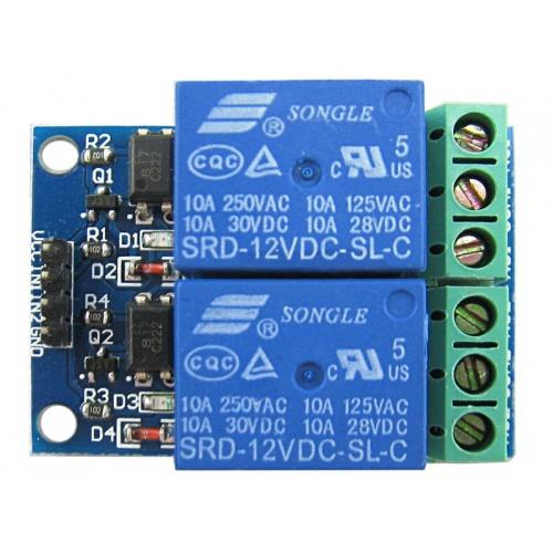 Módulo de 2 canales de Relés de 12V con optoacoplador