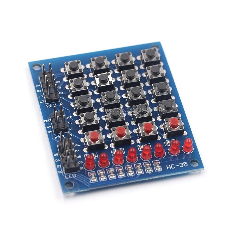 Matriz de pulsadores 4x4 + 8 LED + 4 pulsadores independientes. Teclado para Arduino